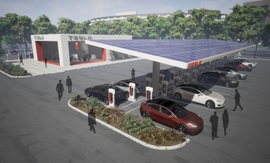 Сеть быстрых зарядок Tesla Supercharger перейдет на энергию солнца